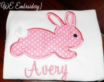 EASTER  Bunny Toddler Girl Embroidered T-Shirt or Baby Onesie, PERSONALIZED Children's Tee
