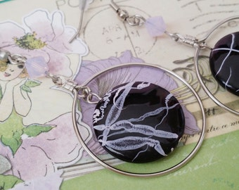 Silver Hoop Drop Dangle Black and Purple Earrings  Strength for the Journey Strength4theJourney