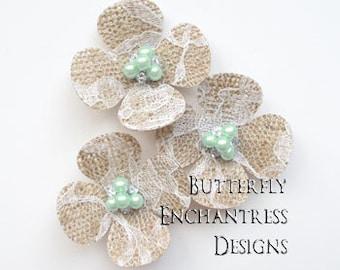 Lace Burlap Wedding Flowers, Rustic Hair Accessories, Farm Woodland Wedding - 3 Hydrangea Flower Hair Combs - Pale Mint Green Pearl Centers