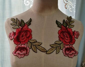 Embroidery Patch-Gucci Style Patch-Patches-Iron on Patch-Shoe flower Patch-Rose Patch-Flower Applique-Gucci Inspired Patch –PL02