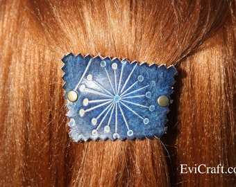 Dandelion Leather French hair barrette, Leather Hair clip, women Hair Accessory, flowers blue leather hair accessory