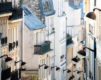 Paris Photography, Romantic Rooftops of Montmartre, soft blue and grey tones, Paris Print,France, French Wall Decor, Paris Photography Print