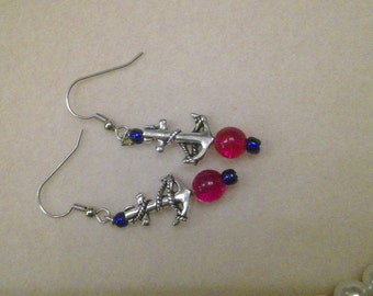 Silver anchors, red beads, earrings, beach wear