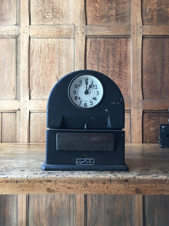 Vintage Simplex Punch Clock Time Clock, WORKS, Simplex Time Tecorder Co Gardner Mass. USA, Office Decor, Industrial Clock Decor