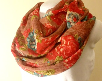 ON SALE Floral Red Infinity Scarf
