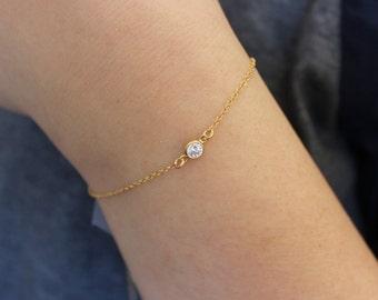 Tiny cz diamond bracelet, Birstsone bracelet, Gold filled bracelet, tiny bracelet, delicate bracelet, dainty bracelet, birthstone jewelry