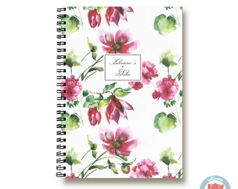 Bullet Journal Notebook - White Pink Flowers - Custom Notebook Floral Journal Sketchbook Spiral Notebook Schrift Girlfriend Gift 1N