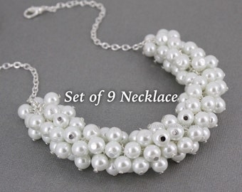 Set of 9 Bridesmaid Gift Pearl Cluster Necklace White Necklace Wedding Jewelry Bridal Party Jewelry Gift Maid of Honor