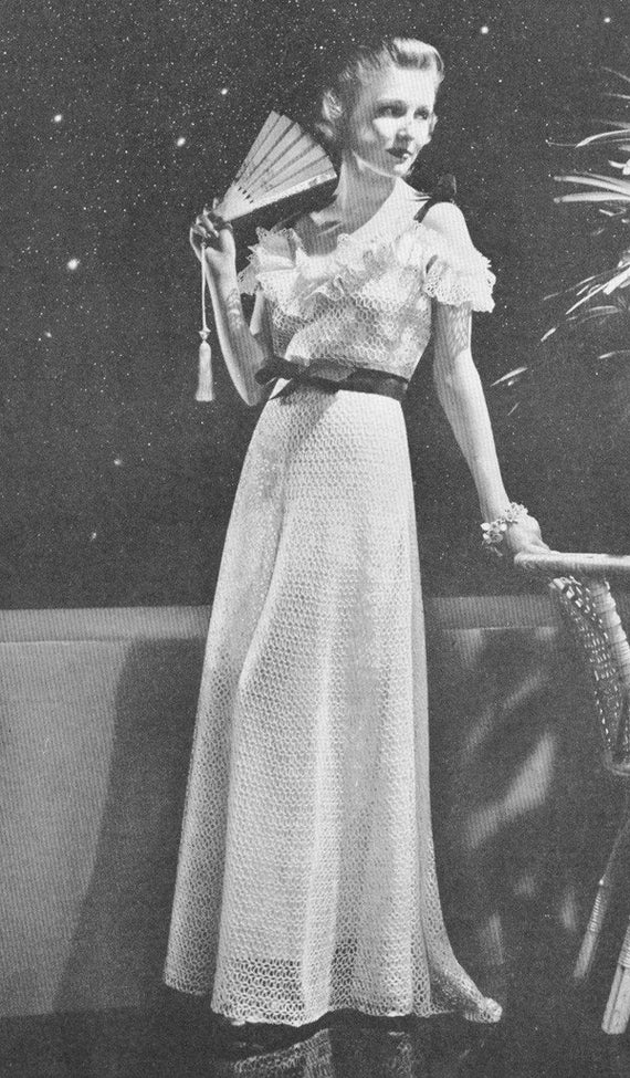 1930s Crochet New Moon Evening Gown with Ruffle Off Shoulder Top ...