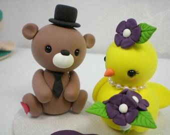 Custom Wedding Cake Topper-- love bear & bird couple with heart base--special for 2018
