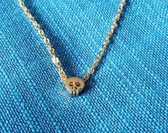 Gold skull bracelet or necklace; gold skull bead necklace, skull bead, skull bracelet, gift for her, gift for friend, gold skull charm