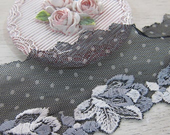 1 yard -Black Polks Dots Floering Lace/ NBDL38-Embroidered Flowering Lace/ Delicate Lace/