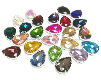 Sew On Crystal stones Pear Shape 5pcs in silver color prong setting high quality glass made