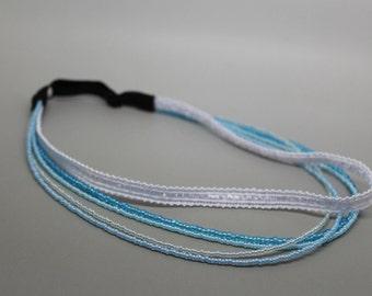Shades of Blue Adjustable Beaded Headband