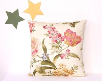 Romantic Floral Pillow Cover - 16x16 Inch Pink Green Tan Cream Pillow,  Floral Accent Cushion Cover