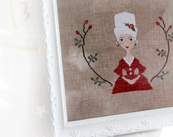 JOSEPHINE official printed cross stitch, primitive, winter, christmas, french, lady
