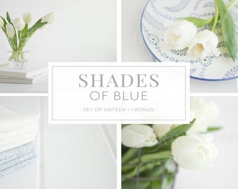 Instagram stock photo bundle | Shades of blue stock photos - Pure white stock photos - Flower stock photos - Lifestyle photos - Neutral