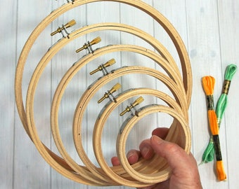 Darice Embroidery Hoops, Round - Basic Wood Hoops for Embroidery, Cross Stitch, Needlework, Hoop Art