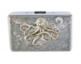 Octopus Metal Wallet Inlaid in Hand Painted Enamel Metallic Silver Swirl Design RFID Credit Card Case with Personalized and Color Options