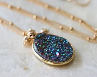Druzy Necklace - Drusy Necklace - Blue Druzy Necklace - Titanium Druzy