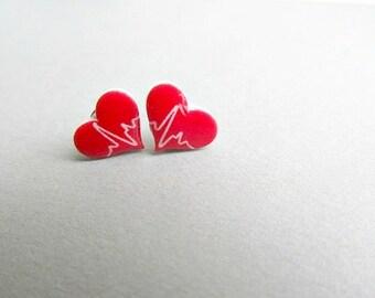Heart Beat Stud Earrings, Nurse earrings, Nursing Student graduate Heartbeat earrings