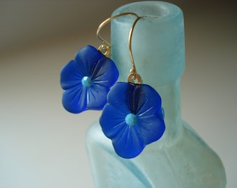 Vintage Rare Cobalt Glass Gold Vermeil Flower Earrings Opaque Turquoise Rhinestone Floral Pansy