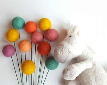 Felt ball nursery decor, Pompom flowers, craspedia billy balls, billy buttons, alternative bouquet, felt flower bouquet, baby nursery, girl