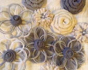 Gray Burlap Flower Assortment Set of 10