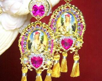 Victorian Juicy Colors Fuchsia Tassels Stunning Cameo  Studs Earrings
