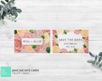 Printed Save the Date Cards   Spring Floral Wedding Stationery   Rose Blooms