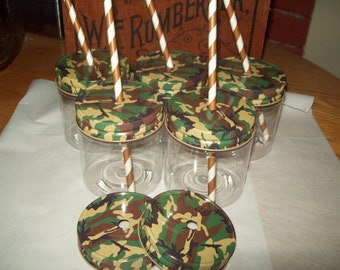Camo Metal Lid with Straw Hole Kids Parties Unbreakable Jars 8 oz  Set of 10