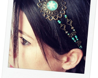 headband jewel of head, perles à facettes blue, Bohemian spirit