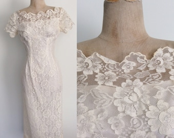 1960's White Lace Wedding Wiggle Dress w/ Illusion Boat Neck Size Small by Maeberry Vintage