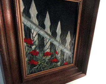 SALE!! Oil Painting Original, signed. Oil on Canvas. Red flowers poppies carnations art white picket fence gift garden
