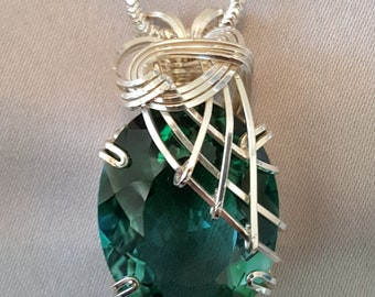 Green Quartz Necklace Wire Wrapped Pendant Sterling Silver