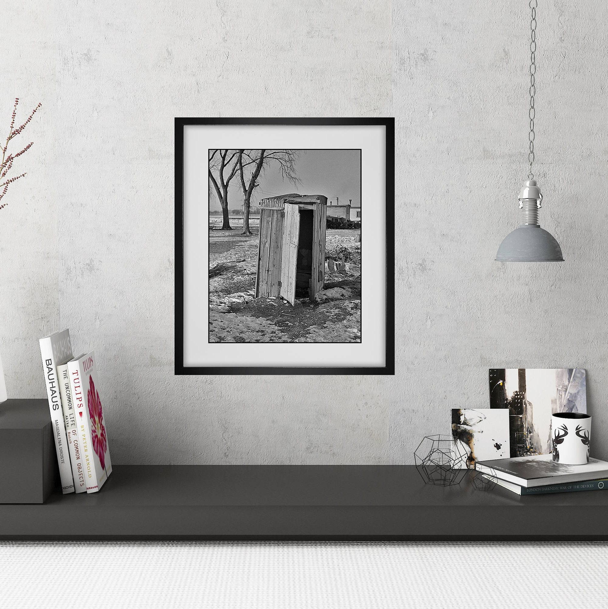 Modern farmhouse wall art funny bathroom art framed for Bathroom blueprints for 8x10 space