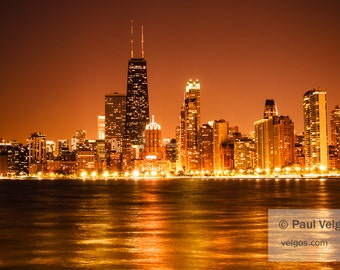 Chicago Lakefront Skyline Print - Chicago Wall Art, Oversized Home Office Decor, Large Canvas Prints, Metal Wall Decor, Wood Prints, Framed