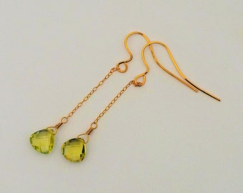 Green Amethyst Earrings, Prasiolite Faceted Gemstone Gold Earrings,Long Dangle Earrings,Green Amethyst, Pale Green Earrings,Natural Gemstone
