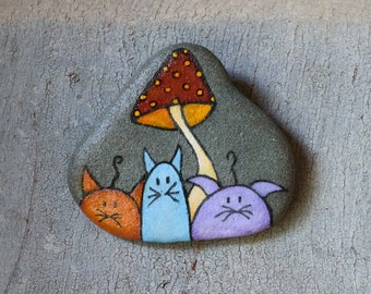 Handpainted rock to hang with cats
