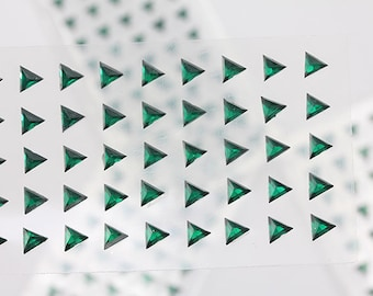 6mm Green Emerald Stick On Triangle Rhinestones Gems For DIY Cards and Invitations  - 50 Pieces