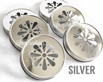 Daisy Cut Mason Jar Lids--(6) SILVER Daisy Cut Mason Jar Lids, Metal Jar Lids, Mason Jar Lids, Daisy Lids