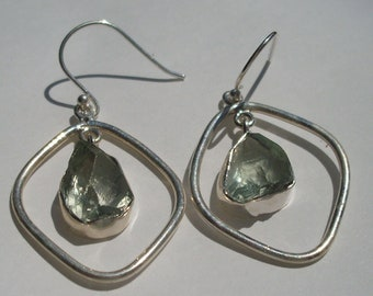 Prasiolite earrings, green amethyst nugget, raw crystal