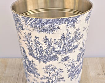 Choose Your Toile Fabric Wastebasket