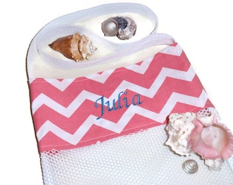 Sea Shell Collecting Mesh Bag, Personalized Gift, Embroidered Beach Tote, Cross Body Bag, Peach Chevron, Beach or Pool Bag, Gift for Girls
