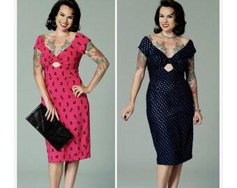 Butterick Pattern 6413-Pin up Girl Dress,Misses' Gathered-Front, Keyhole Dress,Rockabilly 50's dress Plus Size 14-22