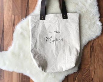 Natural canvas market tote bag with genuine leather straps