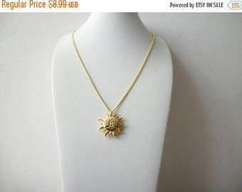 ON SALE Retro Gold Tone Chain Sun Symbol Pendant Necklace 82117