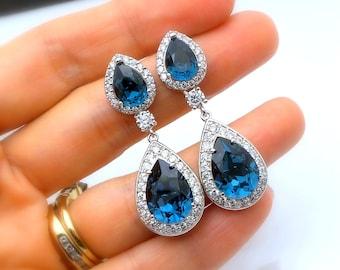 wedding bridal earrings jewelry christmas prom party bridesmaid gift cubic zirconia swarovski deep navy blue crystal teardrop pear cz post