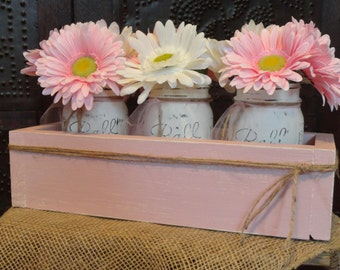 Pink Distressed Wood Box w/ Mason Jars & Flower Table Centerpiece, Country Wedding or Bridal/Baby Girl Shower Centerpiece,Girl Nursery Decor