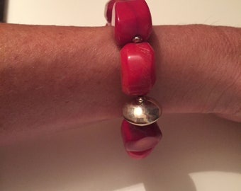 Genuine red coral statement Bracelet with sterling Silver